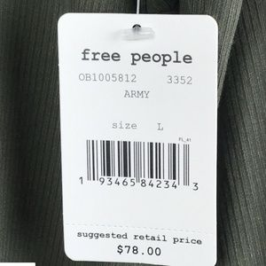 Free People Tops - Free People Shimmy Shake Top Army Green Low Open